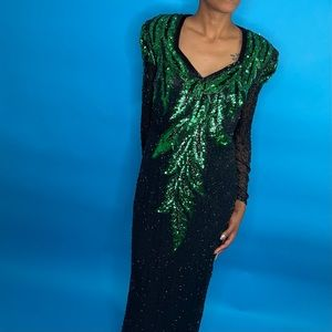Vintage Hand-beaded Lillie Rubin black&green gown